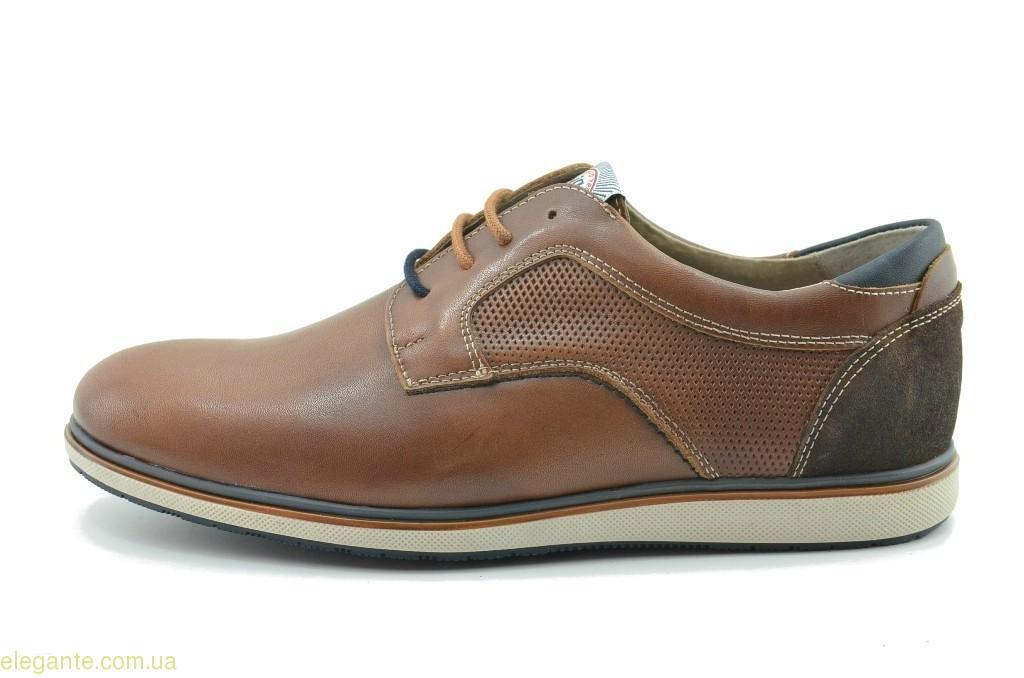 Чоловічі шкіряні туфлі  DJ SANTA коричневі 0