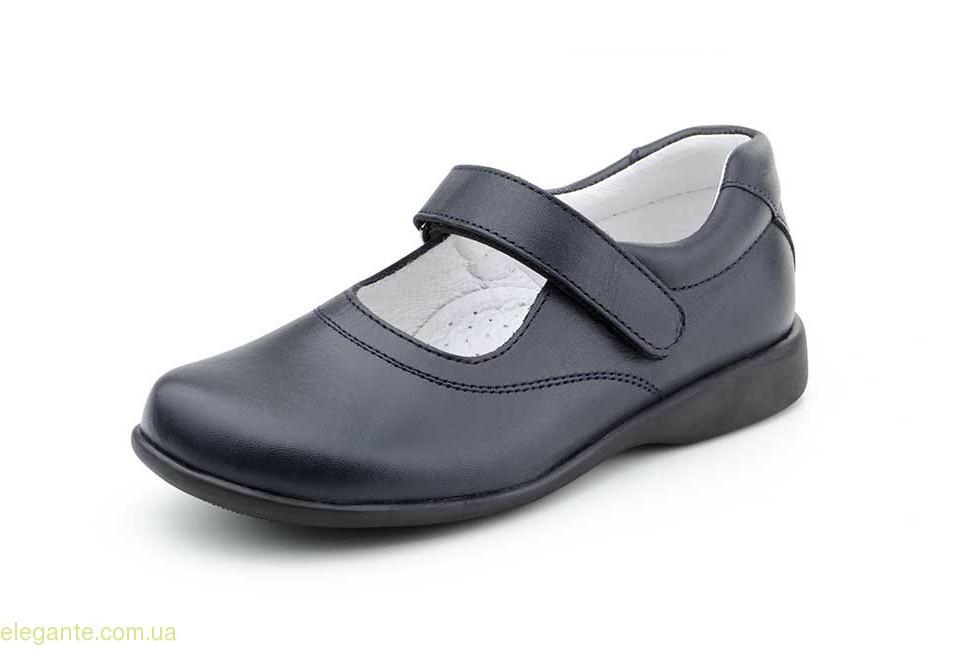 Детские школьные туфли SERNA синие для девочки 0