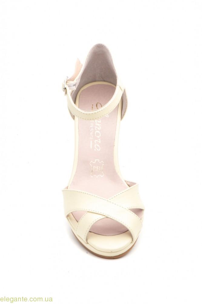Женские босоножки на каблуке ANNORA бежевые 0