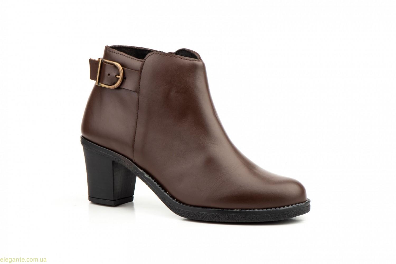 Женские ботинки на каблуке  LAMBUS коричневые 0