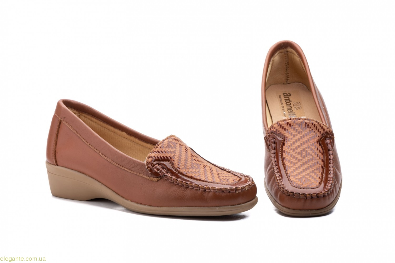 Женские туфли Antonella Лайкра коричневые 0