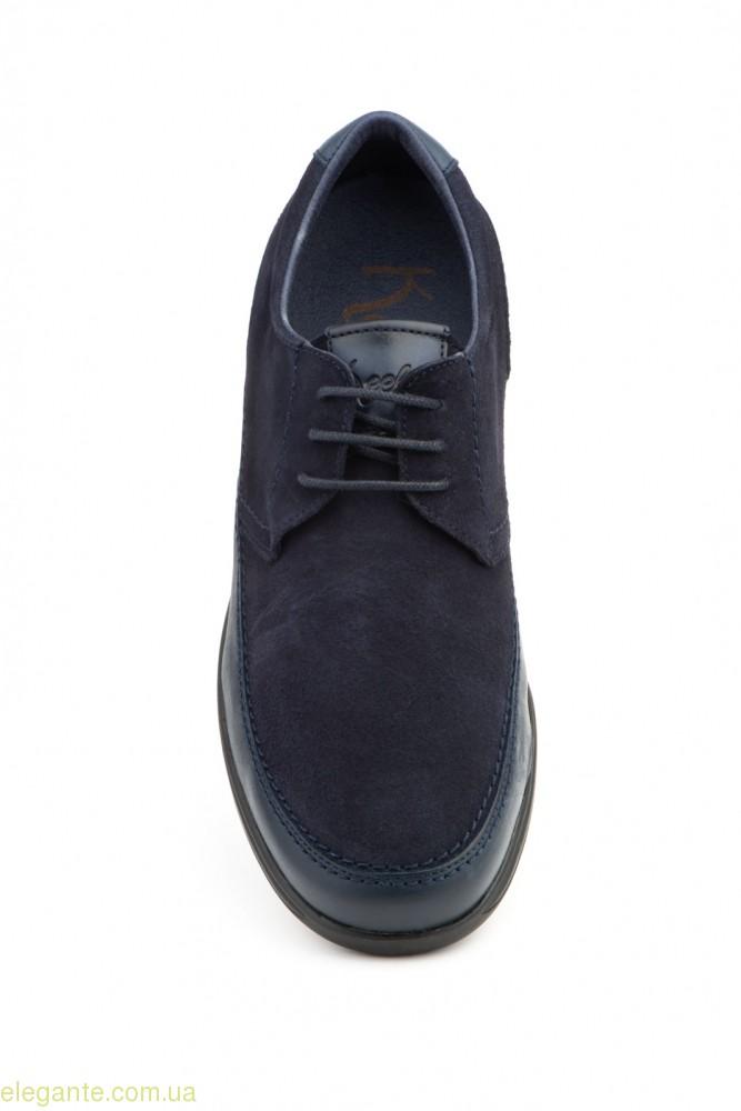 Чоловічі замшеві туфлі на шнурівках KEELAN сині 0