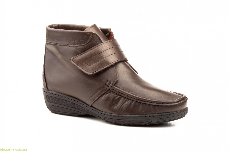 Женские ботинки на танкетке с липучкой  JAM коричневые 0