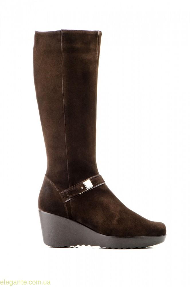 Жіночі чоботи на танкетці JAM коричневі 0