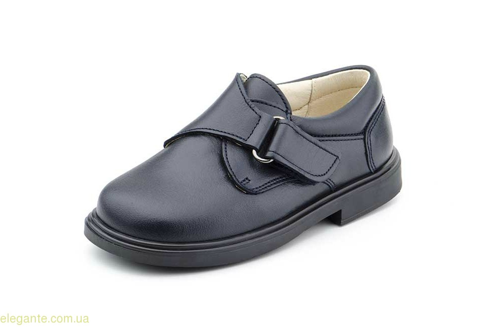 Детские школьные туфли на липучке SERNA чёрные 0