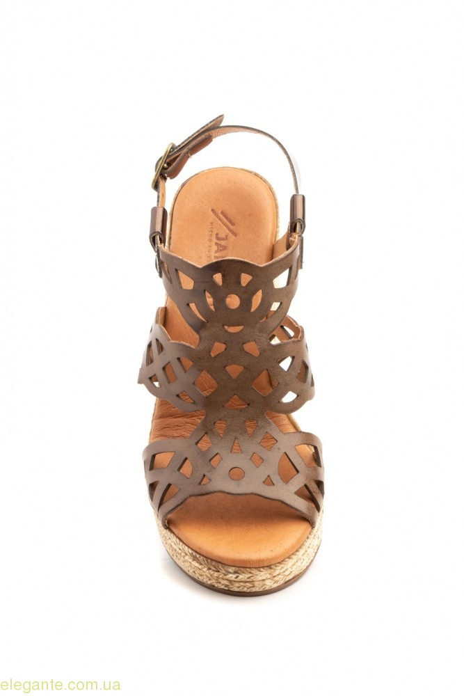 Жіночі босоніжки на каблуку JAM коричневі 0