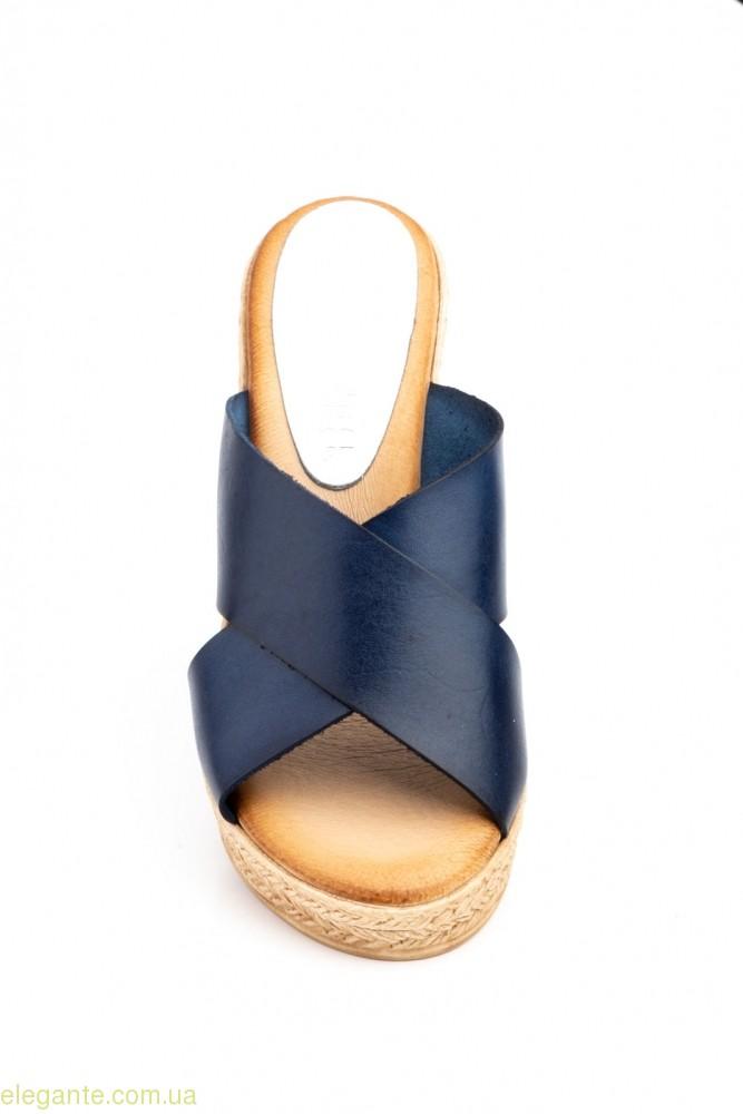 Жіночі шльопанці на каблуку JAM Inma сині 0