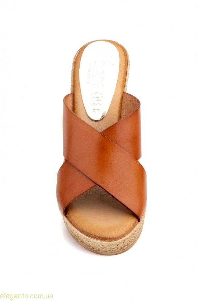Женские шлепанцы на каблуке JAM Inma коричневые 0
