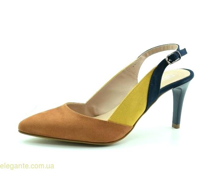 Жіночі відкриті туфлі на каблуку DIGO DIGO коричнево-сині 0