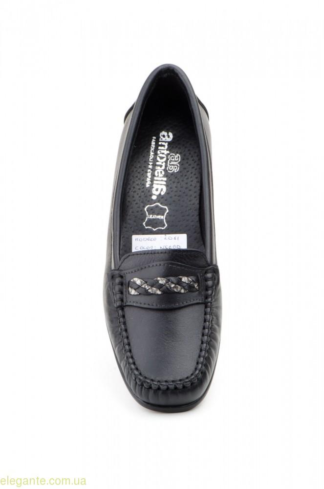 Женские лоферы на каблуку  ANTONELLA чёрные 0