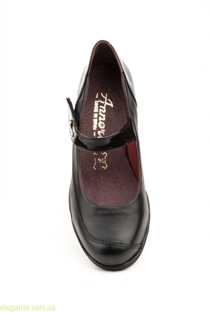 Женские туфли на танкетке ANNORA чёрные на липучке 0
