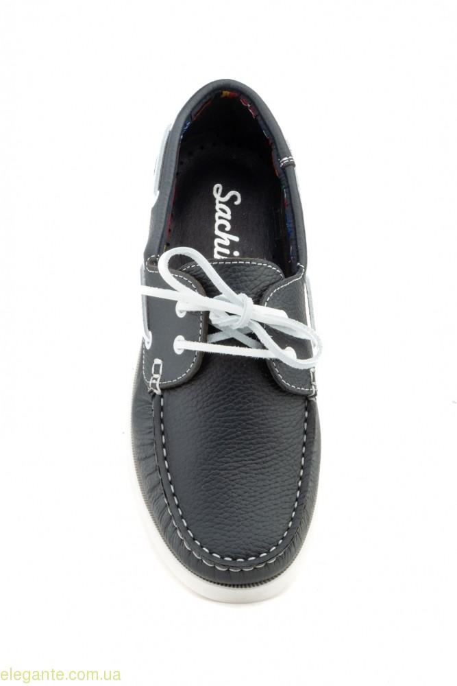 Мужские мокасины на шнурках  Sachini синие 0