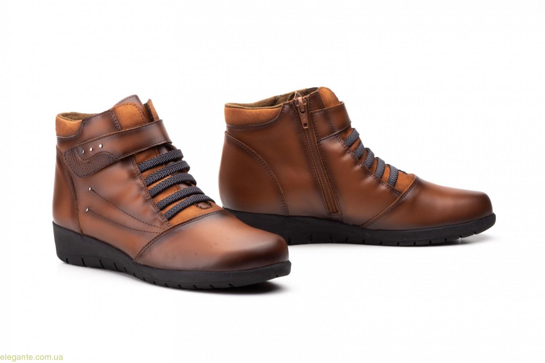 Женские ботинки на липучке JAM коричневые 0