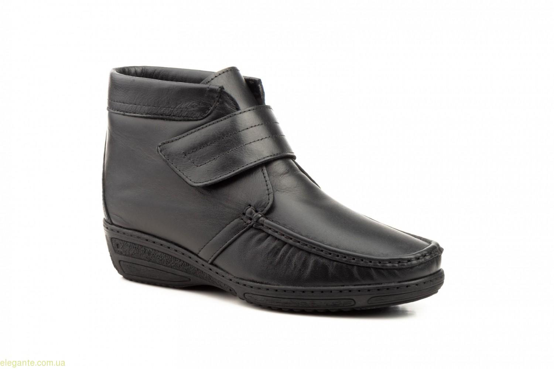 Женские ботинки на танкетке с липучкой  JAM чёрные 0