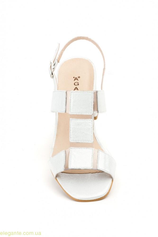 Женские босоножки на каблуке AGATHA SHOES серебряные 0