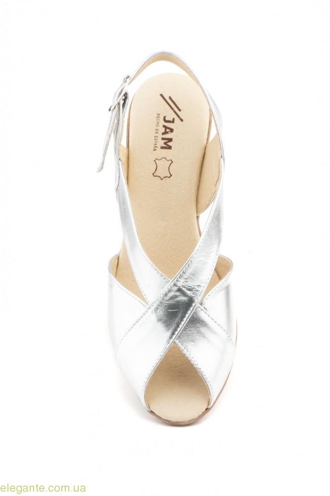Женские босоножки на каблуке JAM Cutillas серебряные 0