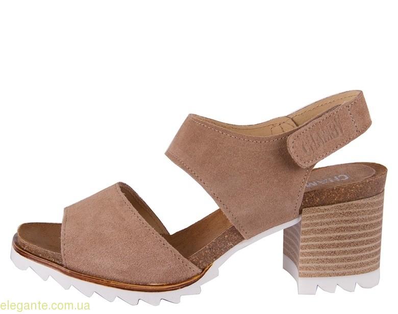 Босоножки на каблуке CHAMBY светло-коричневые 0