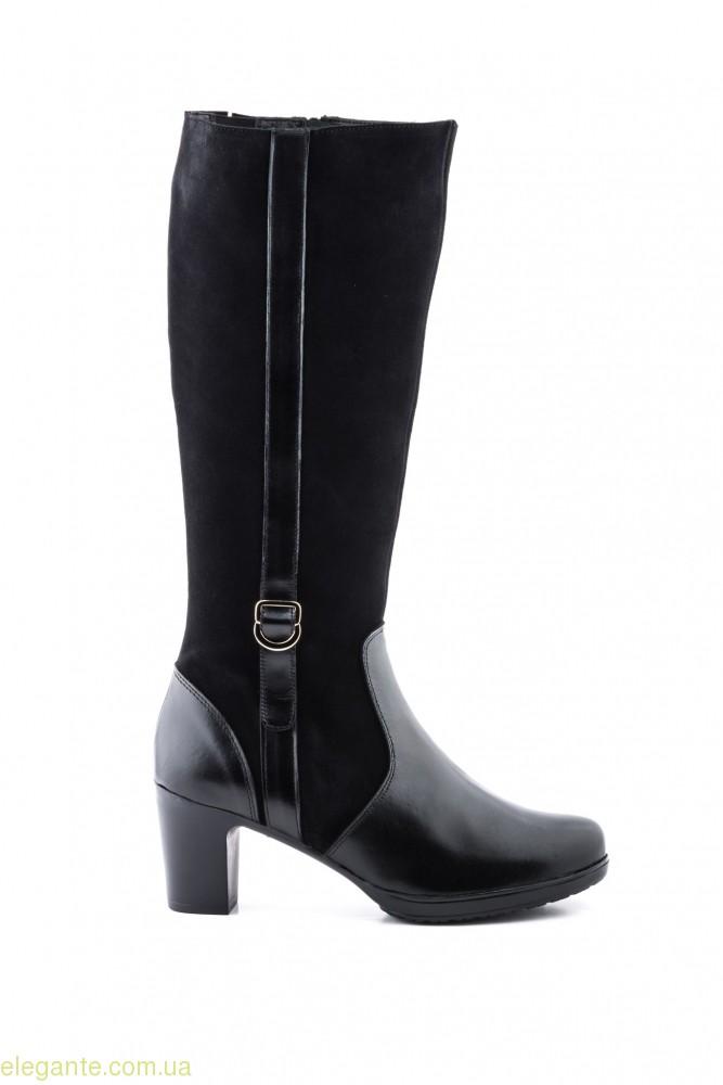 Женские сапоги на каблуке JAM чёрные 0
