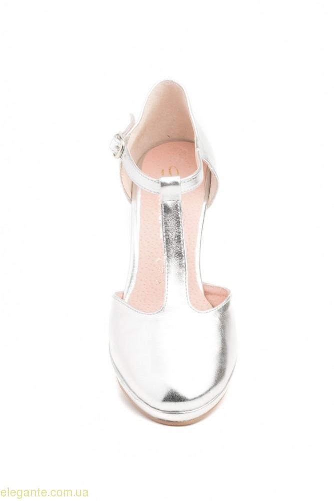 Женские туфли на каблуке ANNORA серебряные 0