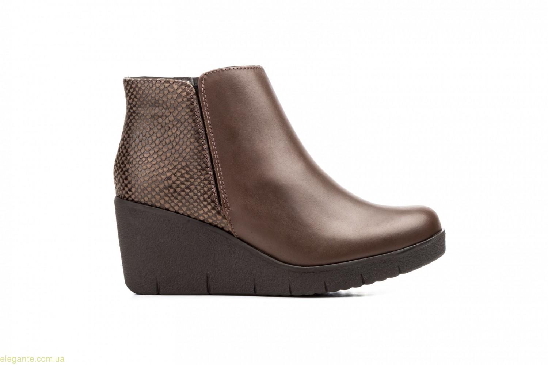 Женские ботинки на танкетке  JAM коричневые 0
