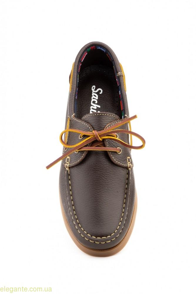 Чоловічі мокасини на шнурівках  Sachini коричневі 0