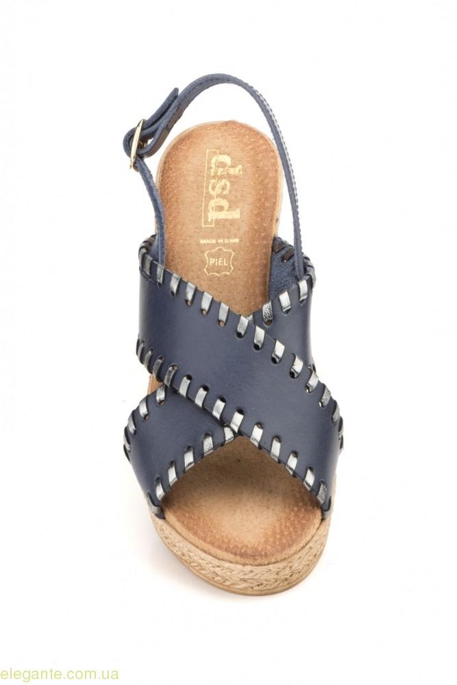 Жіночі босоніжки DSD сині на каблуку 0