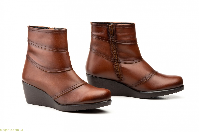 Женские ботинки на танкетке JAM1 коричневые 0