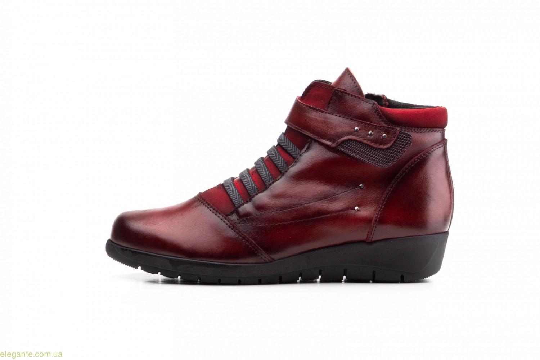 Женские ботинки на липучке JAM бордовые 0