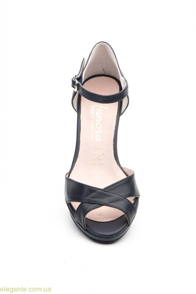 Женские босоножки на каблуке ANNORA синие 0