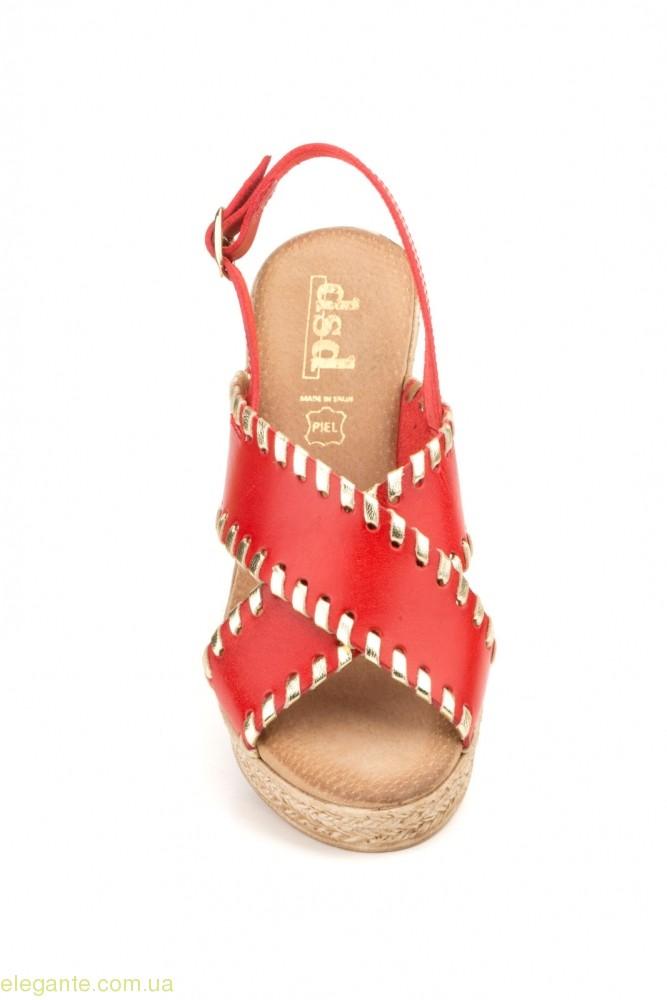 Женские босоножки DSD красные на каблуке 0