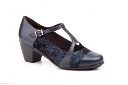 Женские туфли на каблуке GAVIS чёрно-синие