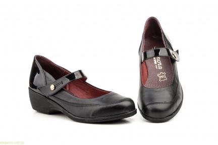 Женские туфли на танкетке ANNORA чёрные на липучке