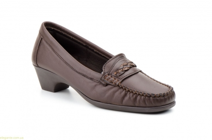 Женские лоферы на каблуку  ANTONELLA коричневые