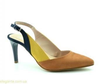 Женские открытые туфли на каблуке DIGO DIGO коричнево-синие