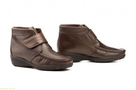 Женские ботинки на танкетке с липучкой  JAM коричневые