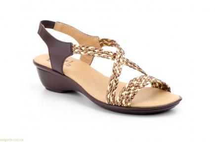 Жіночі босоніжки косичкою ALTO ESTILO коричнево-бронзові