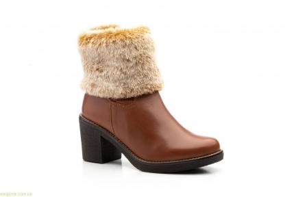 Женские ботинки с мехом JAM коричневые