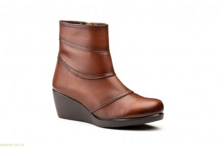 Жіночі черевики на танкетціі JAM1 коричневі