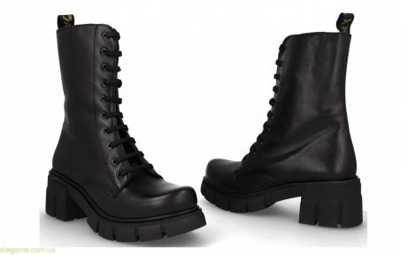 Женские ботинки на каблуке высокие JARPEX чёрные