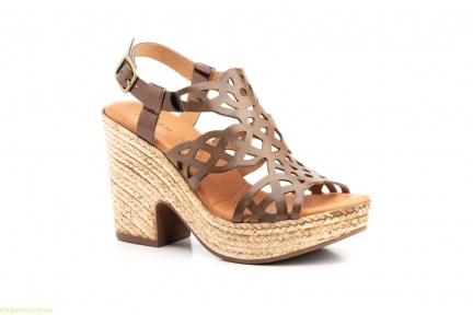 Женские босоножки на каблуке  JAM коричневые