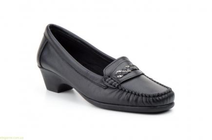 Женские лоферы на каблуку  ANTONELLA чёрные