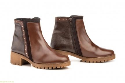 Женские ботинки с заклепками JAM коричневые