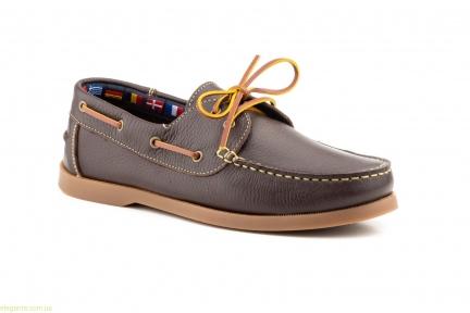 Чоловічі мокасини на шнурівках  Sachini коричневі