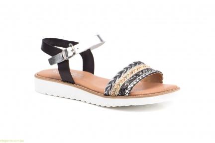 Женские сандалии MISTRAL чёрные  с серебряным