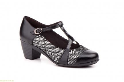 Жіночі туфлі на каблуку GAVIS чорні з срібним