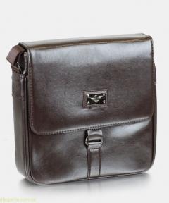 Мужская сумочка на плечо  современная коричневая
