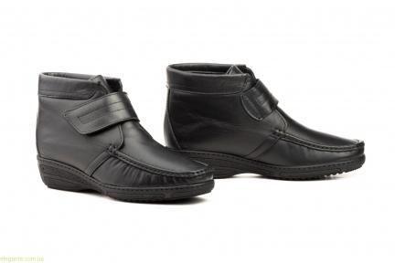 Женские ботинки на танкетке с липучкой  JAM чёрные