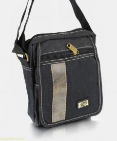 Мужская сумочка на плечо из ткани чёрная