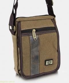 Мужская сумочка на плечо из ткани коричневая